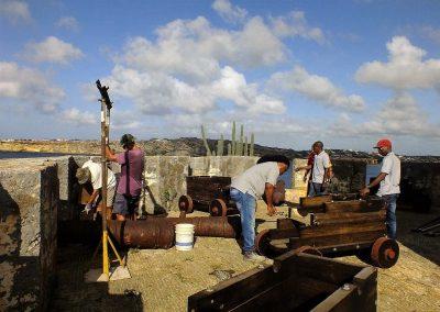 01 Kanonnen en rolpaarden op Fort Beekenburg - foto Henk Kroon