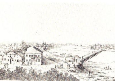 Mauritsstad met Huis Vrijburgh en brug. Frans Post 1644. part.col