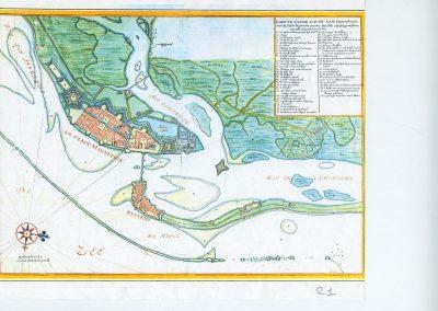 'De haven van Pharnambucq' (Mauritsstad-Recife), situatie ca 1644. Atlas Maior (ook: 'Vingboons Atlas'), Nationaal Archief Den Haag. Johannes Vingboons (1617-1670)