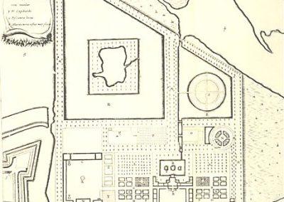 Plattegrond van de paleistuin met Huis Vrijburgh en gedeelte Fort Ernestus. Nr. 2 is monasterium, i.c. het klooster van Sint Antonius uit 1606-1613. Barlaeus 1647, anoniem, plaat 39.