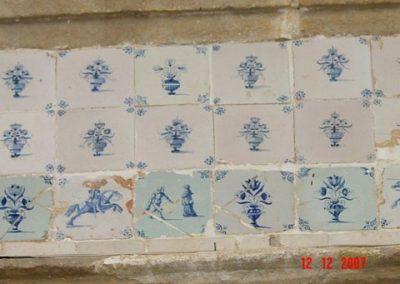 Wand 5. Diverse types tegels. Alles Nederlands, 17e-eeuw